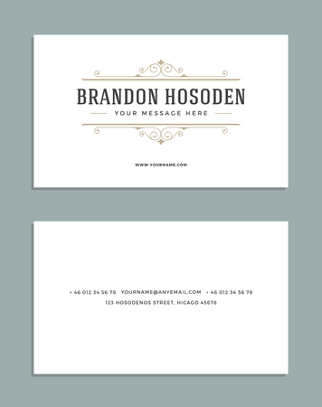 shop sign: Vintage Ornament Business Card Vector Template. Stock Photo