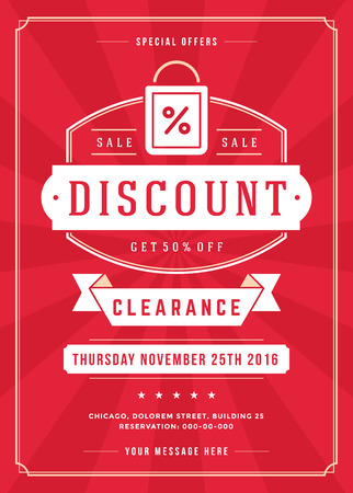 commerce: Sale Flyer or Poster Design discount offers and background. S