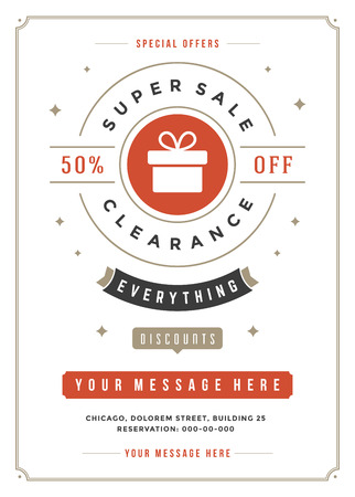 commerce: Sale Flyer or Poster Design discount offers and background.