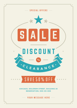 large: Sale Flyer or Poster Design discount offers and background.