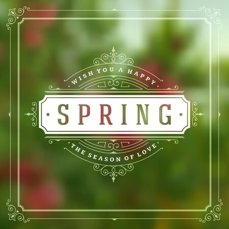 romance: Spring Vector Typographic Greeting Card or Poster Design.