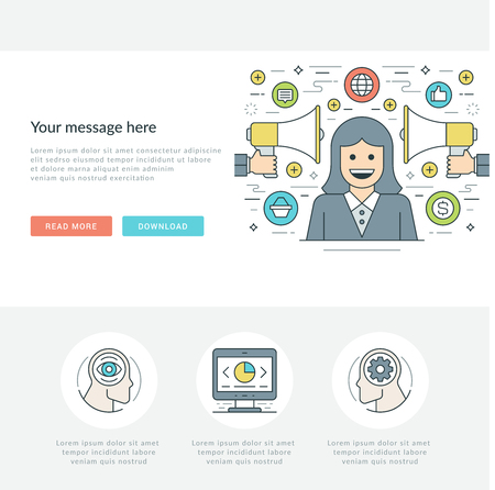 contact: Flat line Business Concept Web Site Header Vector illustration.