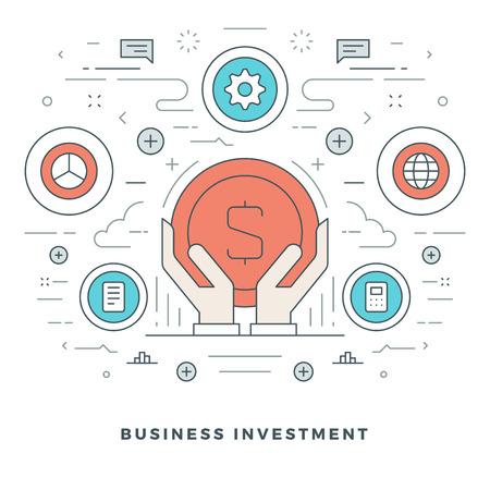 mobile website: Flat line Business Concept Vector illustration.