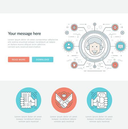 envelope: Flat line Business Concept Web Site Header Vector illustration.