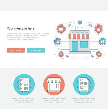 mobile website: Flat line Business Concept Web Site Header Vector illustration.