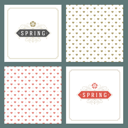 greeting season: Spring Vector Typographic Posters or Greeting Cards Design Set.