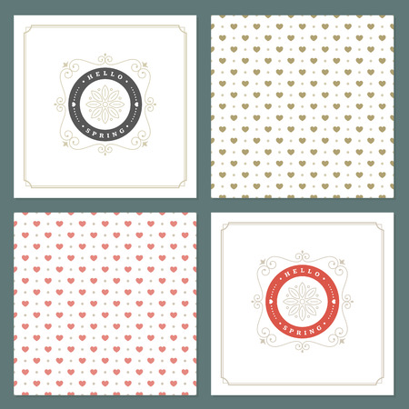 textured paper: Spring Vector Typographic Posters or Greeting Cards Design Set.