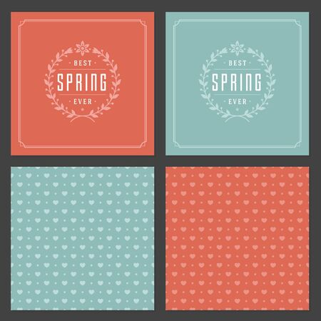 greeting season: Spring Vector Typographic Posters or Greeting Cards Design Set Illustration
