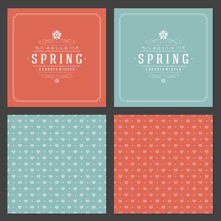 textured paper: Spring Vector Typographic Posters or Greeting Cards Design Set Illustration