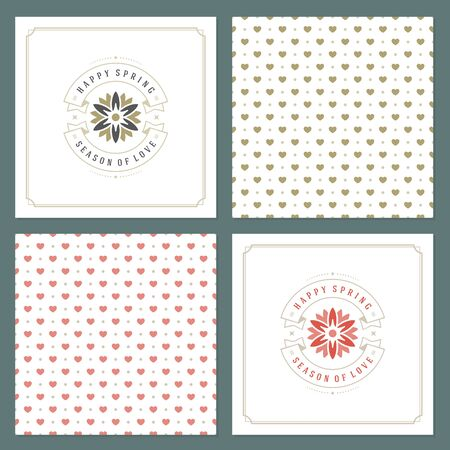 romance: Spring Vector Typographic Posters or Greeting Cards Design Set Illustration