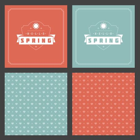 happy holidays: Spring Vector Typographic Posters or Greeting Cards Design Set.
