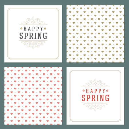 romance: Spring Vector Typographic Posters or Greeting Cards Design Set.