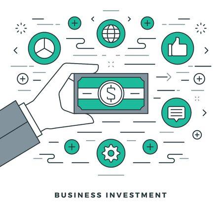 mobile website: Flat line business management and investment. Vector illustration.
