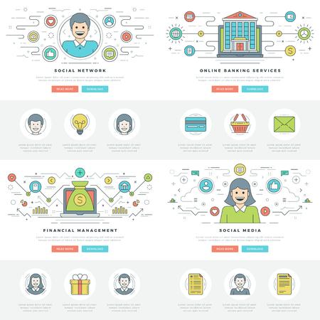 communication icons: Flat line business concepts set vector illustrations.