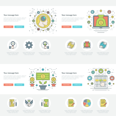 business concepts: Flat line Business Concepts Set Vector illustrations.