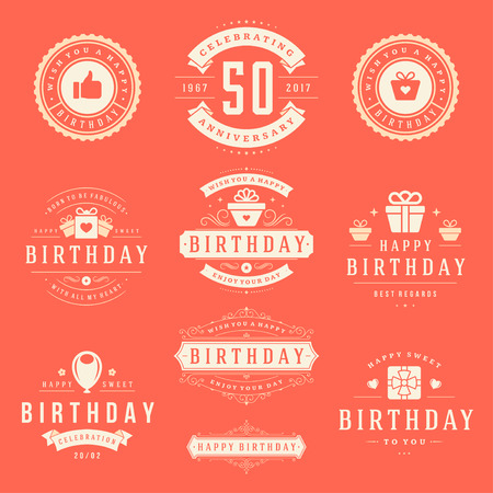 holiday party: Happy Birthday Badges and Labels Vector Design Elements Set.