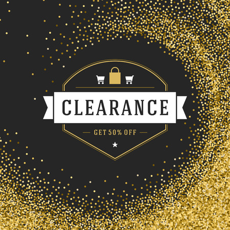 discount tag: Label or Tag Design on Gold Background Vector Vintage. Sale banner, Discount flyer, Shopping poster. Glitter Sparkles Bright Confetti. Illustration
