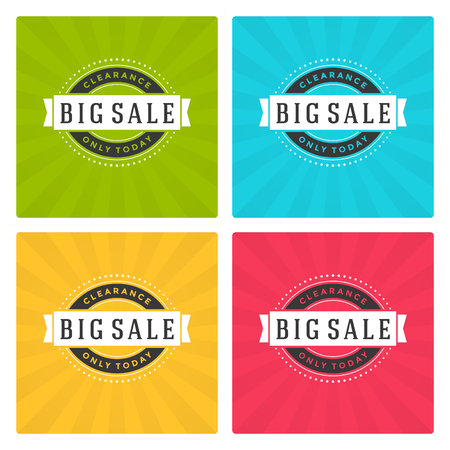 large: Sale Banners or Labels Vector Design Set. Collection for Promotional Brochure or booklet, Discount Poster, Shopping flyer, Clearance advertising.