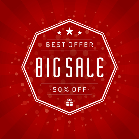 huge: Sale Banner or Label Vector Design for Promotional Brochure or booklet, Discount Poster, Shopping flyer, Clearance advertising. Red rays background.