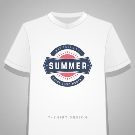 design elements: Summer holidays typography tee shirt print graphics template vector illustration. Illustration