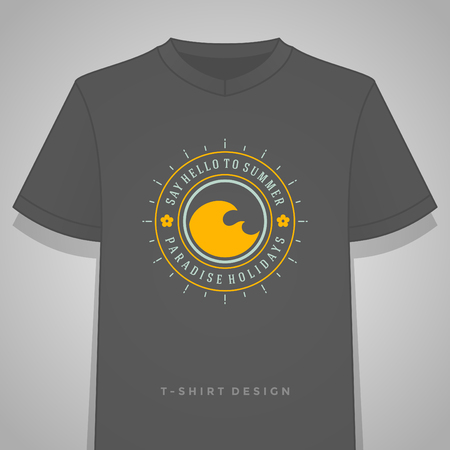 sun: Summer holidays typography tee shirt print graphics template vector illustration. Badge or Label stamp for t-shirt apparel design. Summer silhouettes and symbols and decoration elements. Illustration