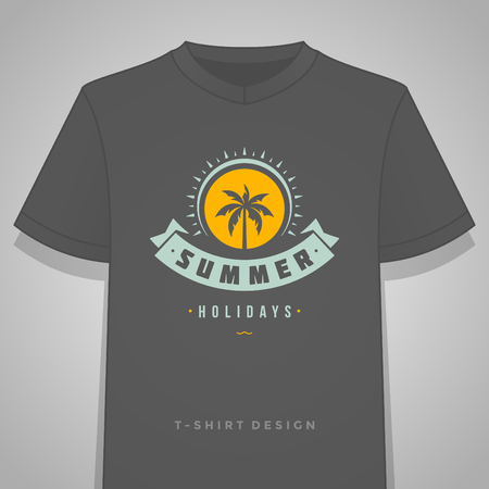 paradise beach: Summer holidays typography tee shirt print graphics template vector illustration. Badge or Label stamp for t-shirt apparel design. Summer silhouettes and symbols and decoration elements. Illustration