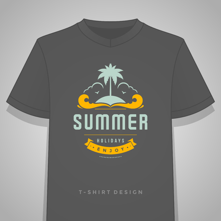 island: Summer holidays typography tee shirt print graphics template vector illustration. Illustration