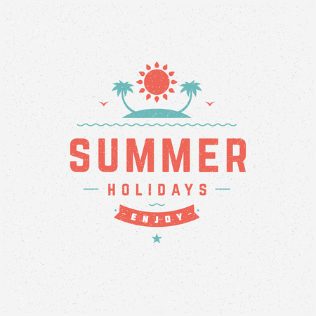 greeting season: Summer holidays poster design on textured background vector illustration. Typography label or badge retro style for greeting card or advertising design. Illustration