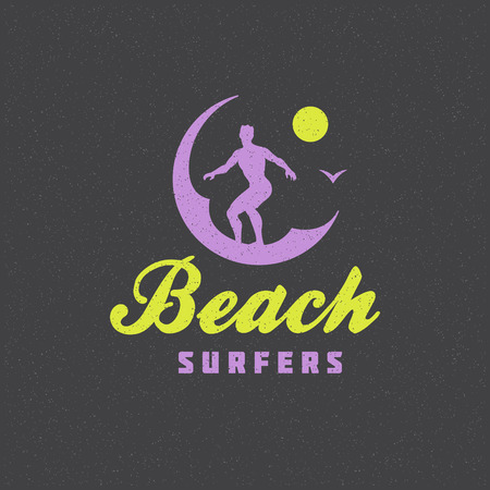 waves: Summer holidays poster design on textured background vector illustration. Typography label or badge retro style for greeting card or advertising design. Illustration