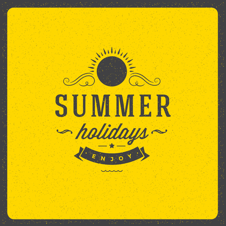 summer holiday: Summer holidays poster design on textured background vector illustration. Typography label or badge retro style for greeting card or advertising design. Illustration
