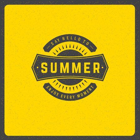 design elements: Summer holidays poster design on textured background vector illustration. Typography label or badge retro style for greeting card or advertising design. Illustration