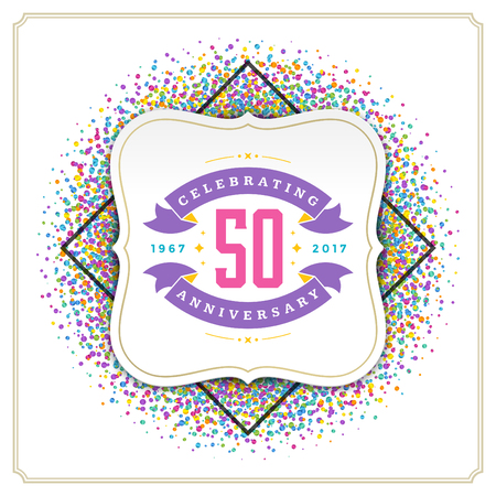 eps 10: Happy Birthday Greeting Card Design Vector Template. Vintage typographic Birthday badge or label with wish message and decoration elements on colorful confetti background. Eps 10. Illustration