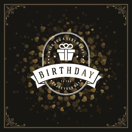 birthday party: Vintage typographic template with wish message and decoration elements
