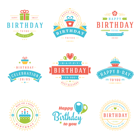 birthday party: Happy Birthday Badges and Labels Design Elements Set.