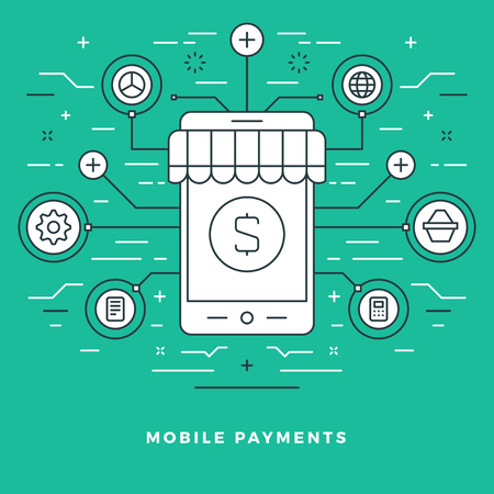 market place: Flat line Mobile Payments and Shopping Concept Vector illustration. Modern thin linear stroke vector icons. Illustration