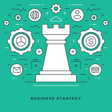 online: Flat line Business Strategic Management. Vector illustration. Modern thin linear stroke vector icons.