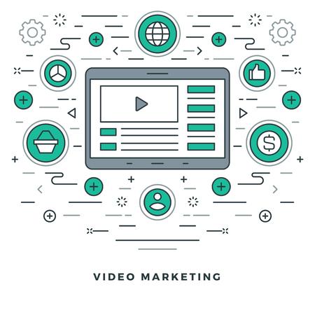 website header: Flat line E-learning or Video Marketing. Vector illustration. Modern thin linear stroke vector icons.