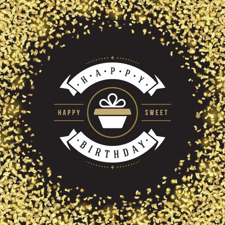 design elements: Happy Birthday Greeting Card Design Vector Template. Illustration