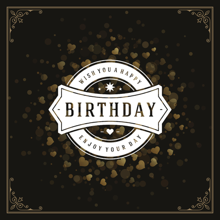gold: Happy Birthday Greeting Card Design Vector Template. Illustration