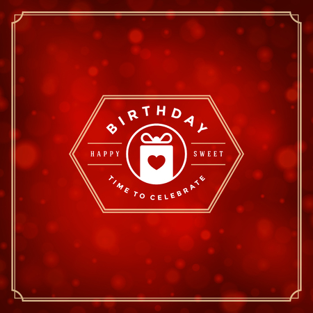 luz roja: Happy Birthday Greeting Card Design Vector Template. Vectores