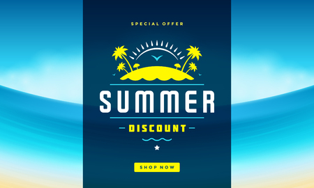 hot: Summer Sale banner online shopping on beach background
