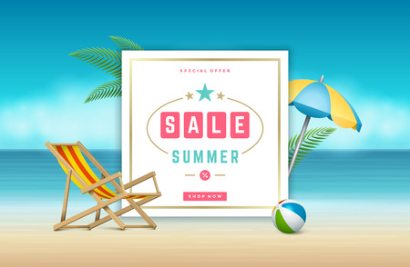 website: Summer Sale banner online shopping on beach background