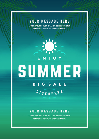 large: Summer Sale banner online shopping on beach background