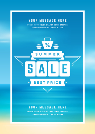 business sign: Summer Sale banner online shopping on beach background
