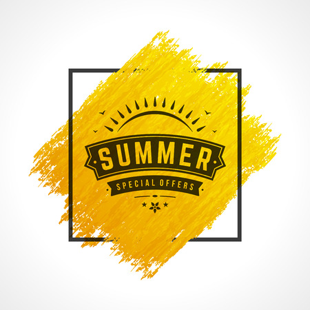 shop sign: Summer Sale banner online shopping on grunge brush paint watercolor texture background Illustration