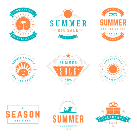hot: Summer season sale badges and tags design vector retro set Illustration