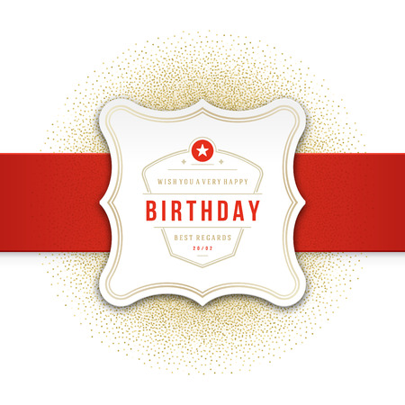 card: Happy Birthday Greeting Card Design Vector Template. Illustration