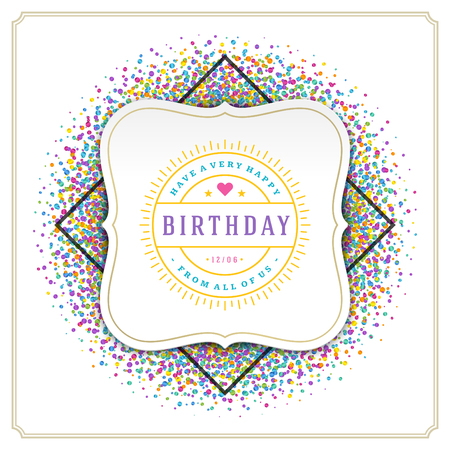 birthday party: Happy Birthday Greeting Card Design Vector Template. Illustration