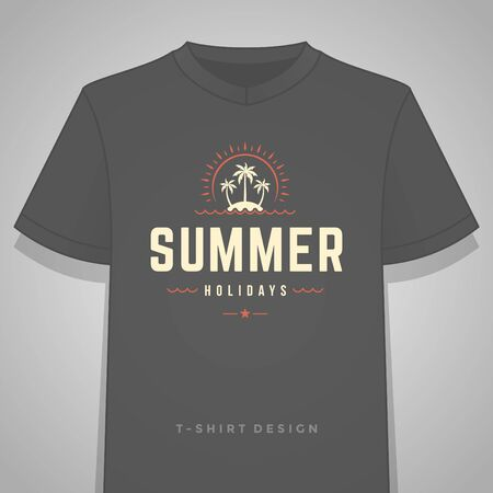 palm: Summer holidays typography tee shirt print graphics template vector illustration. Illustration