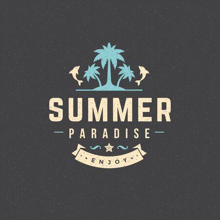 logo: Summer holidays poster design on textured background vector illustration. Illustration